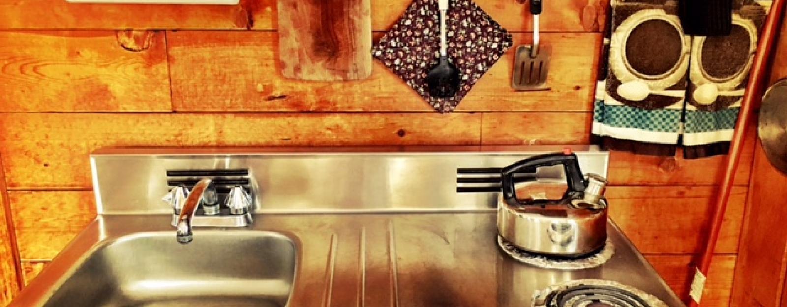 Retro Kitchenette at Cuthbertson Cabin. Highland Loge, Vermont.