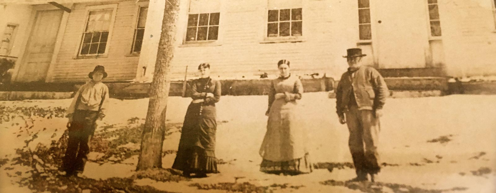 The Simpson Family in front of the farmhouse1860's - which later became the Lodge