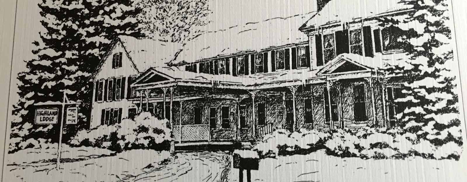 Ben Thurber's Rendering of a snowy Lodge1982
